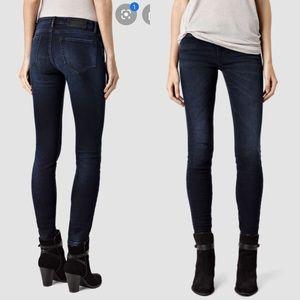 Dark indigo high rise skinny jeans All Saints